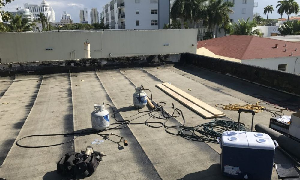 Commercial Flat roof Re-roof in progress